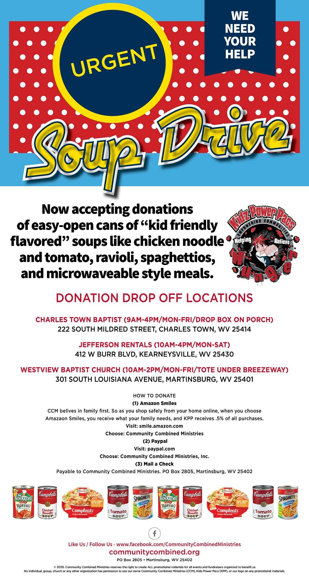 KPP soup drive now accepting e z open cans of kid friendly flavored soup
