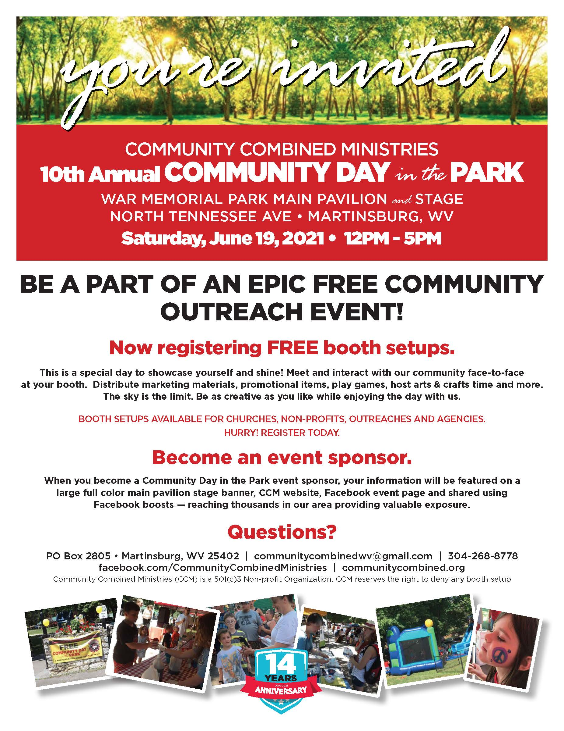 2021 Community Combined Ministries Day in the Park june 15 2021 Booth and Sponsor information download pdf flyer by clicking image caption: opens new tab