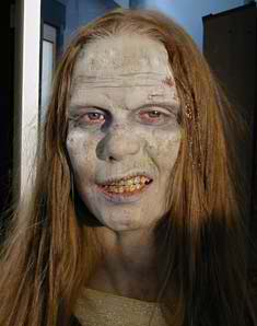 Amy Warehouse as Zombie in Snow Day, Bloody Snow Day - Sculpt, Prosthetic, Application by Tim Vittetoe,  ImpaQt FX