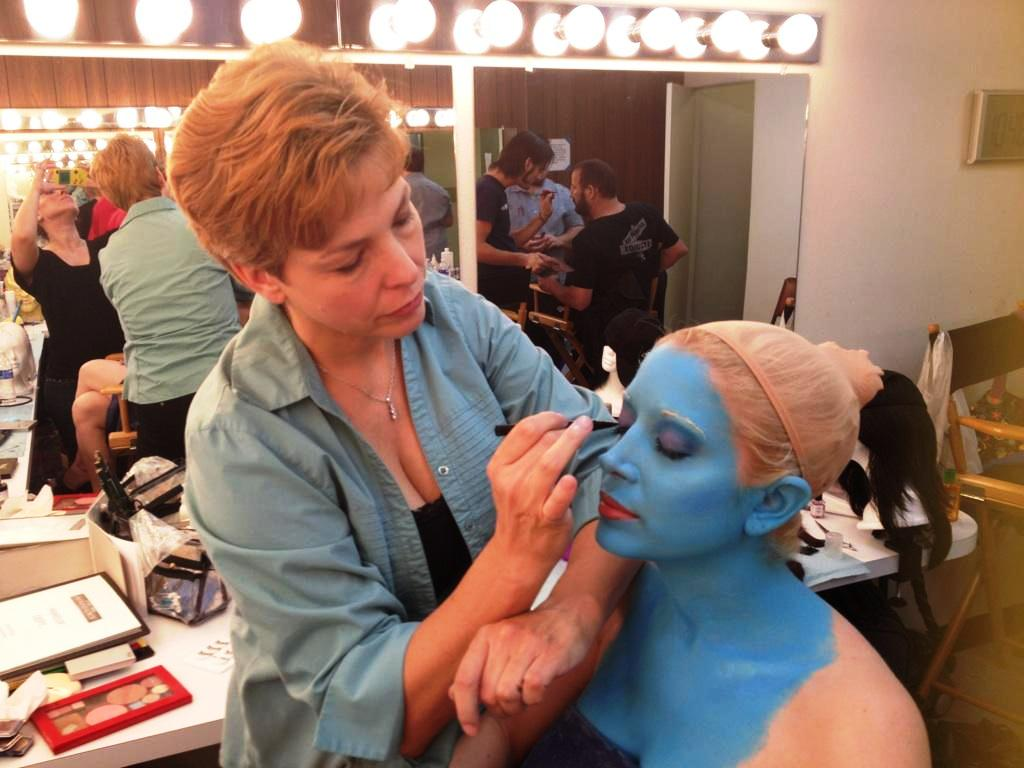Lisa Hansell applying beauty makeup to Courtney Peldon, Star Trek Renegades