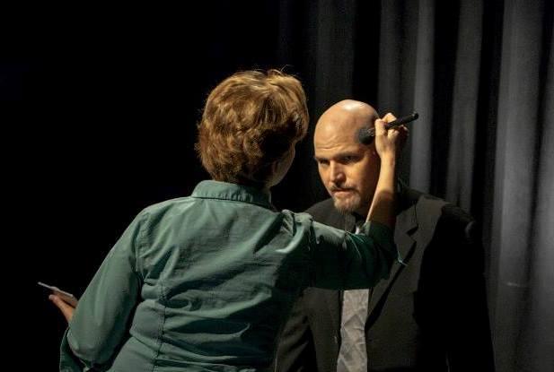 Lisa Hansell applying makeup to Jason Matthew Smith, Lords of LA