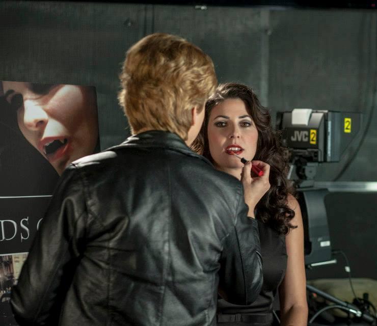 Lisa Hansell applying beauty makeup to Natasha Berg, Lords of LA