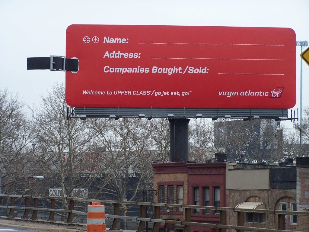 """Virgin Atlantic Billboard in NY with 10 ft Luggage Strap and 50"""" Buckle"""