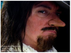Cyrano nose applied to model Jon Bailey to create a musketeer, makeup by Rob Burman