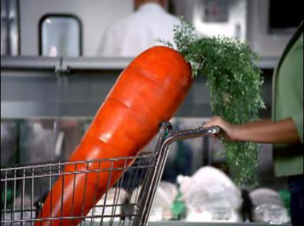 Oversized 4 ft carrot created for Wisconsin 10X Lottery Commercial