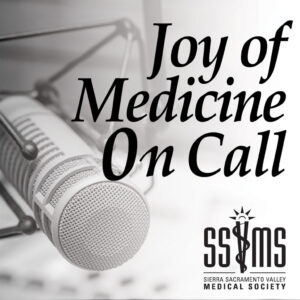 Joy of Medicine On Call Podcast cover: Pictured is a microphone with SSVMS logo in the right bottom corner