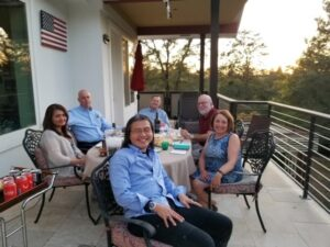 Group photo of physicians socializing at Joy of Medicine peer group event