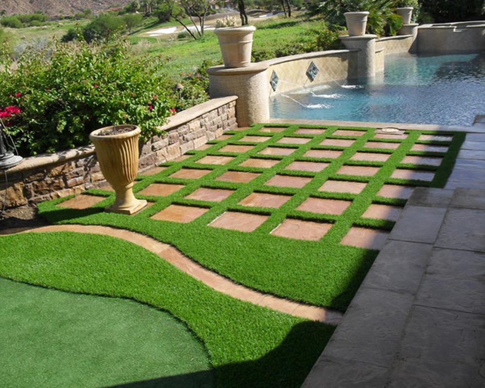 Residential Turf Backyard pool area