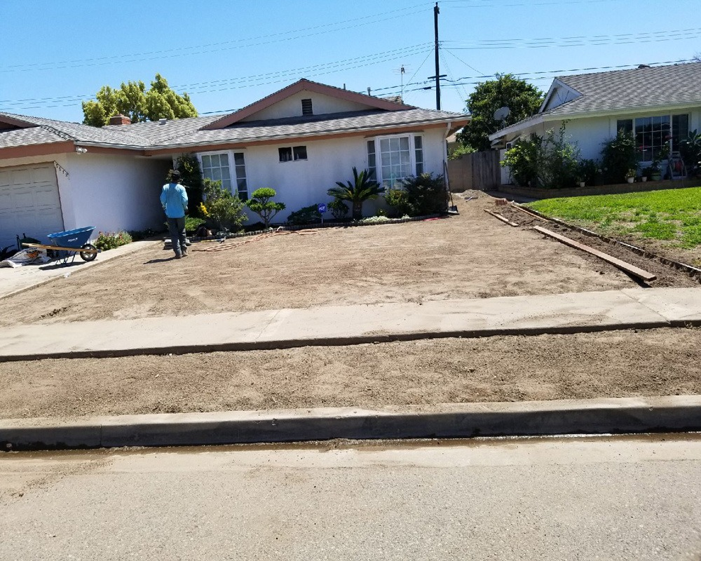 front yard before turf installation