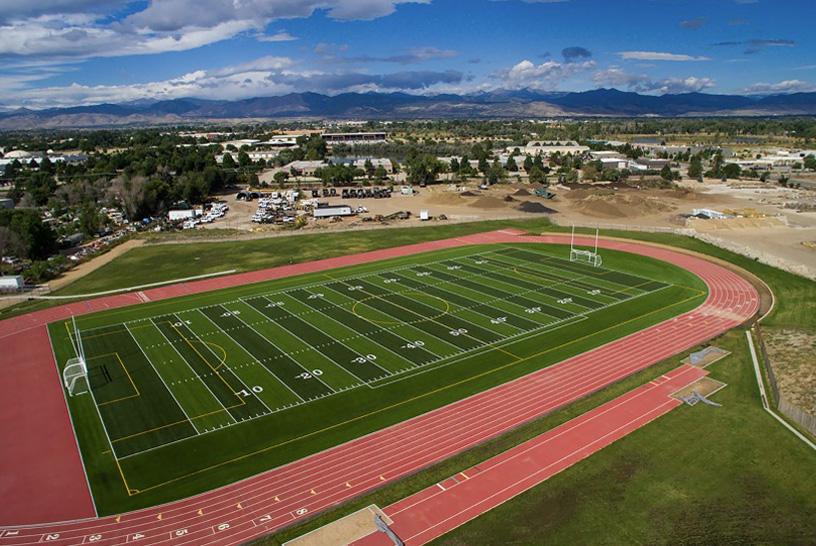 Football field with turf