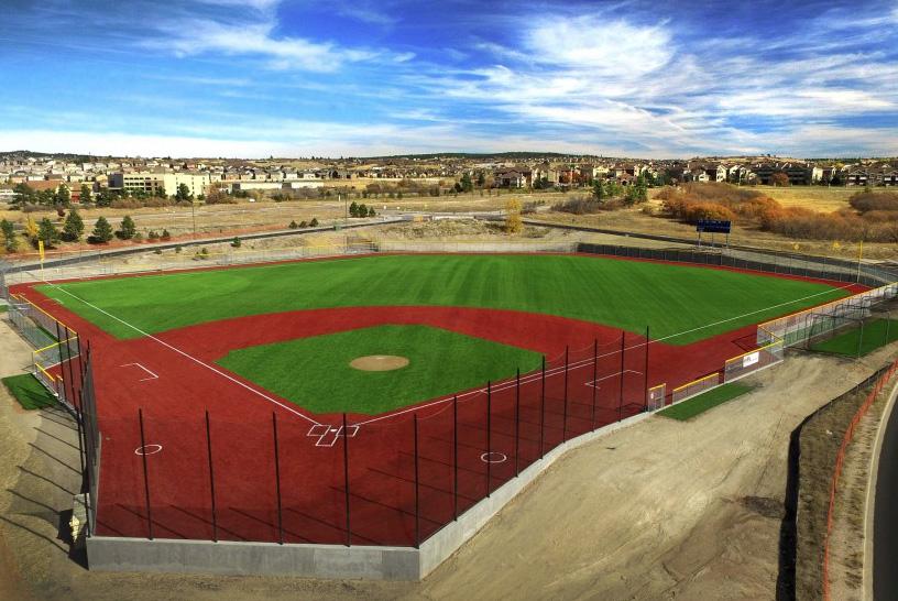 Baseball field with turf