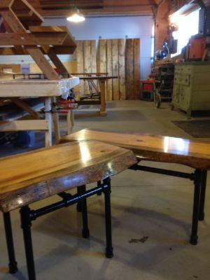 Custom live edge pine end tables