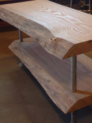 Custom live edge pine end tables- before finish