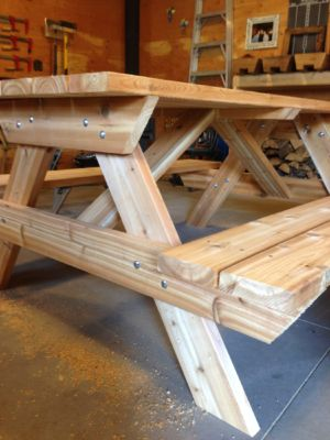 6 ft Cedar picnic table  2x6 construction / hidden screws and sanded
