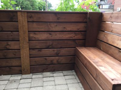 Privacy Patio - custom dividers and bench