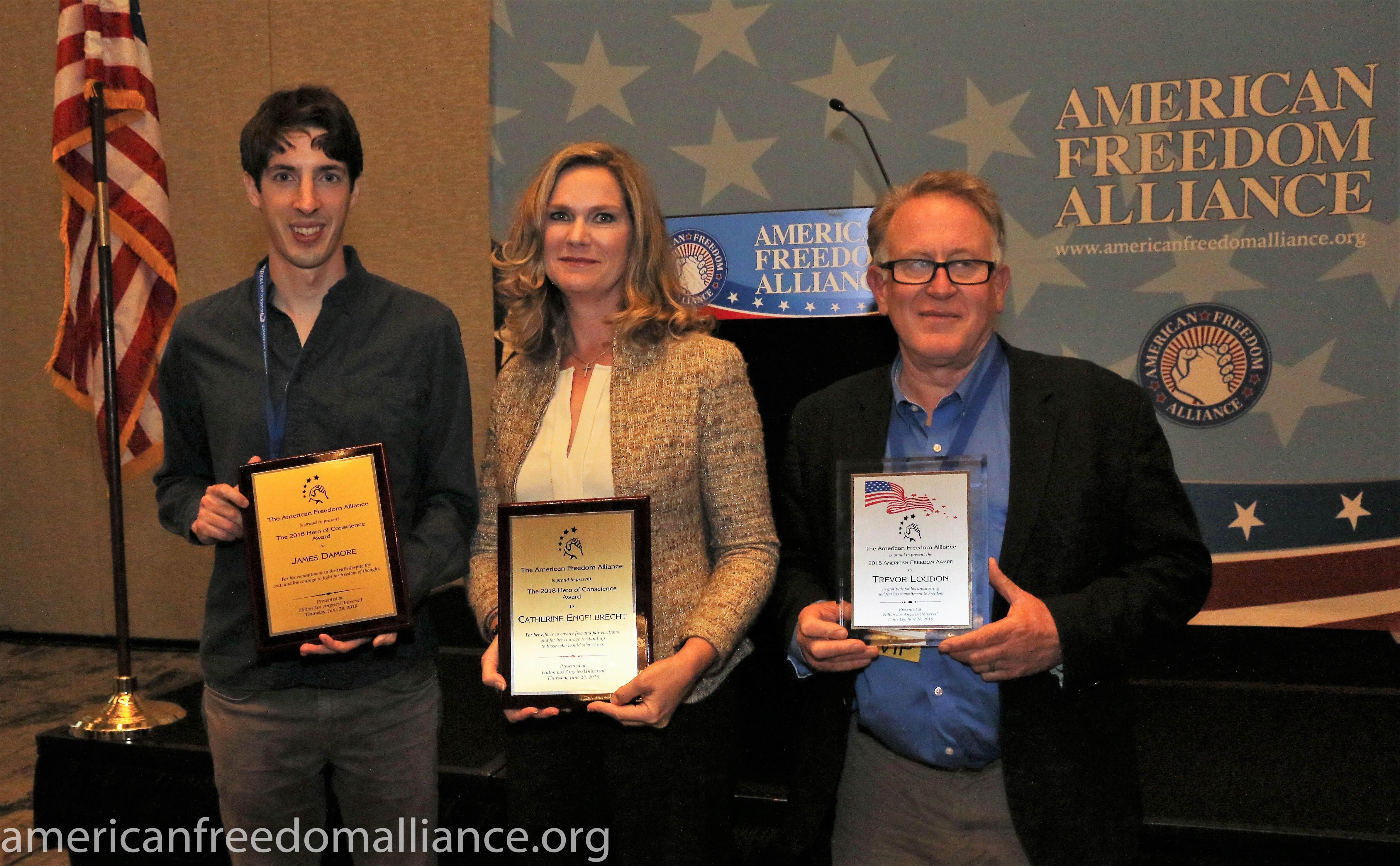 Awardees James Damore, Catherine engelbrecht, Trevor Loudon