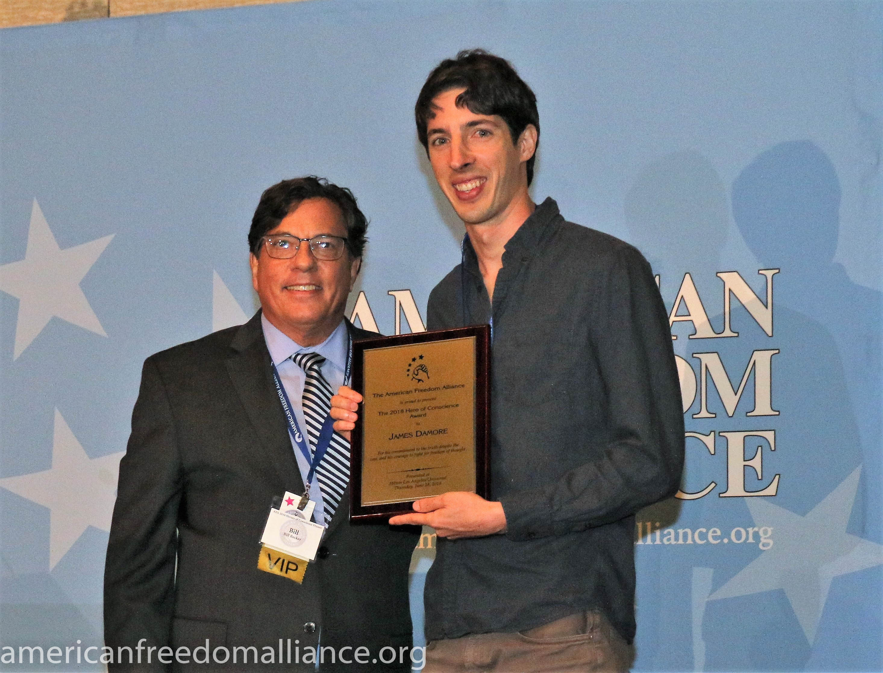 Bill Becker and James Damore with H of C Award