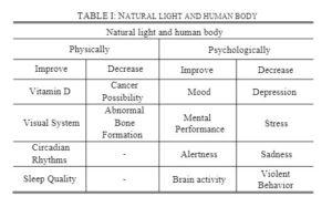 natural light and human body