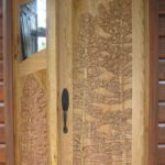 8' tall Carved Butternut door, pine trees