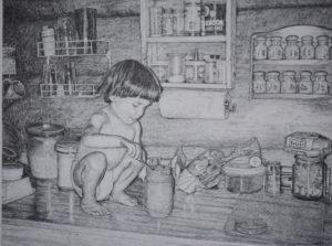 """A Dip in the Jar"" 24x32 pencil drawing by John Huisman"
