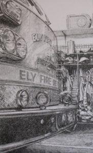 Fire Truck pencil drawing 18x11