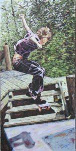 """""""In Flight"""", 15x30, Oil on Canvas Board"""