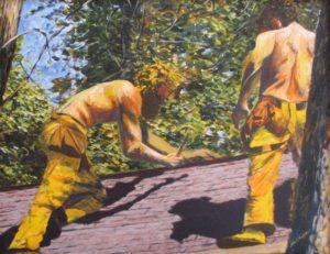 """Len and Mike"" acrylic on canvas"