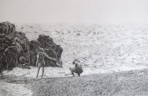 """""""Searching for Stones, Lake Superior"""" 22x14 pencil drawing"""