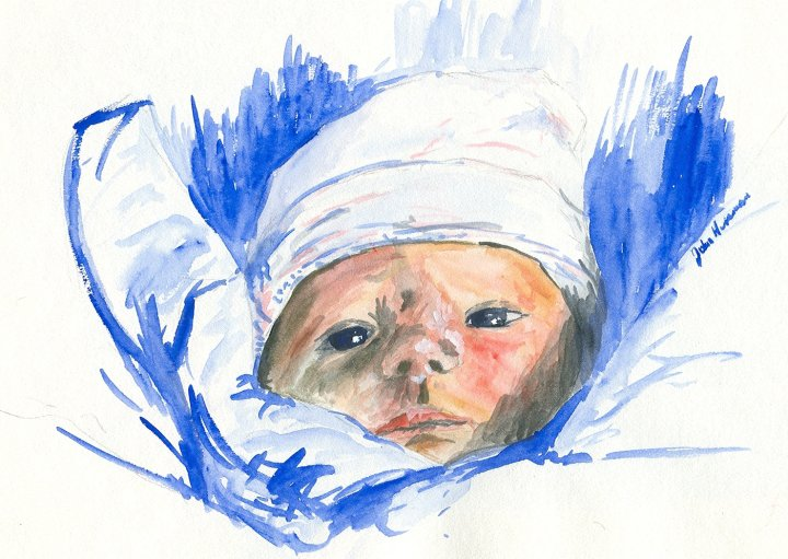 First born, watercolor