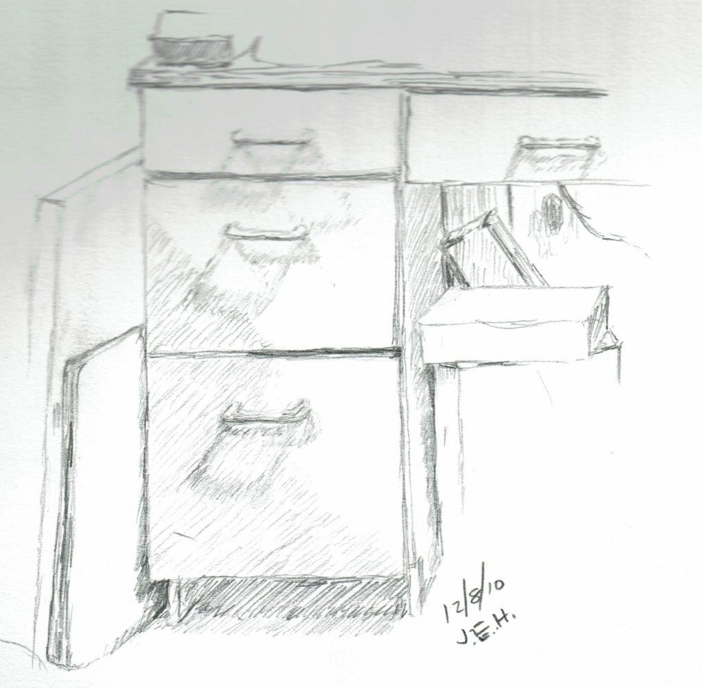 Office Cabinet quick pencil sketch by John Huisman