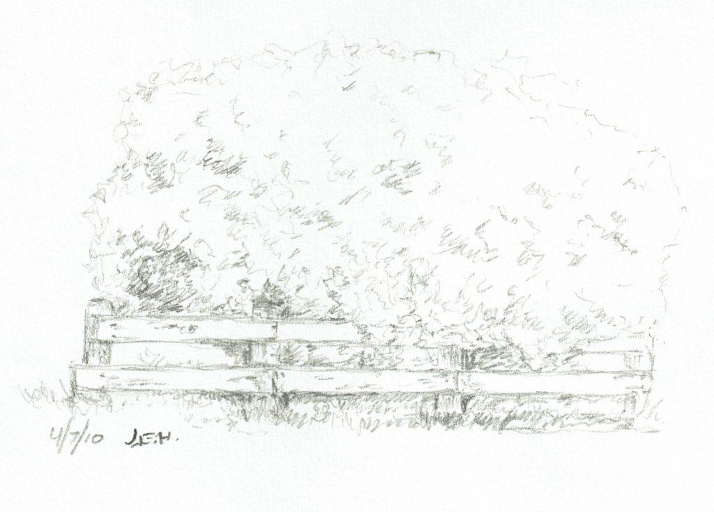 Fence, bushes, on site sketchbook sketch by John Huisman