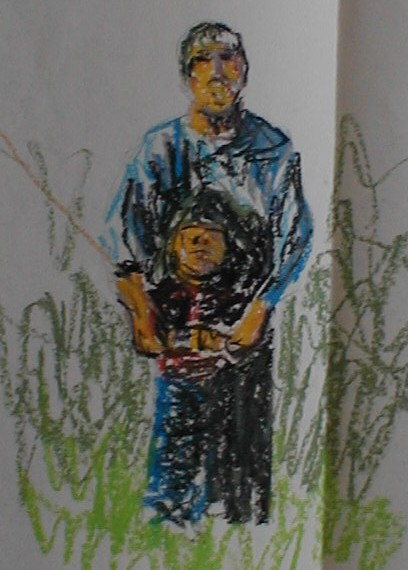 Oil pastel quick sketch of a father and son flying a kite