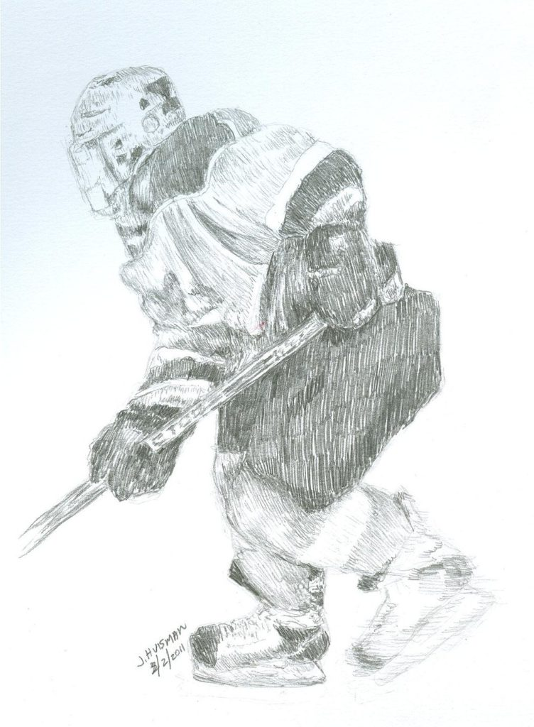 Sketch of a youth peewee hockey player
