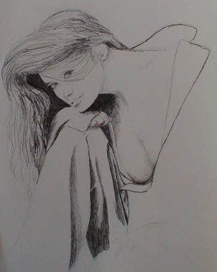 Pencil sketch of an unknown woman