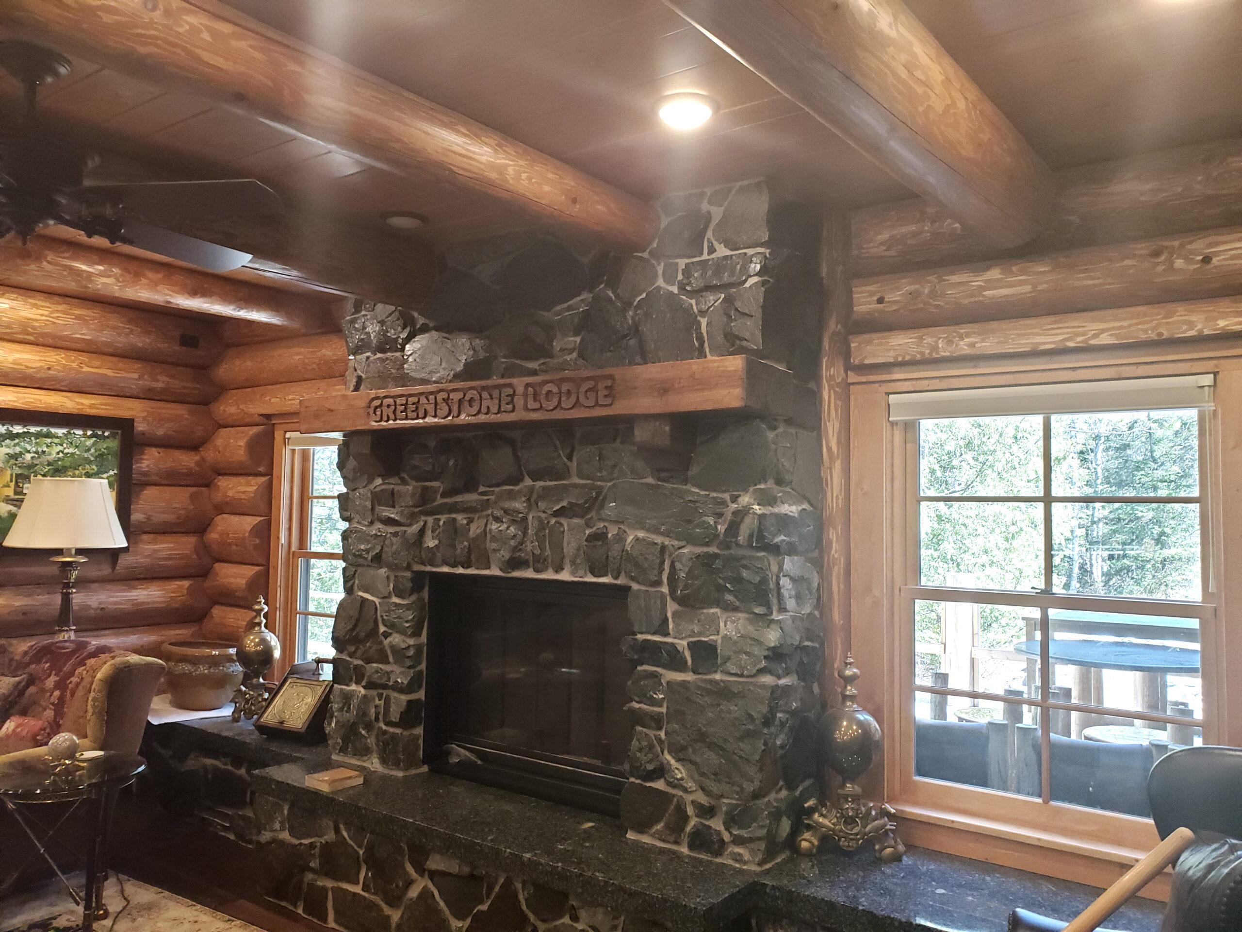 Custom carved fireplace mantel