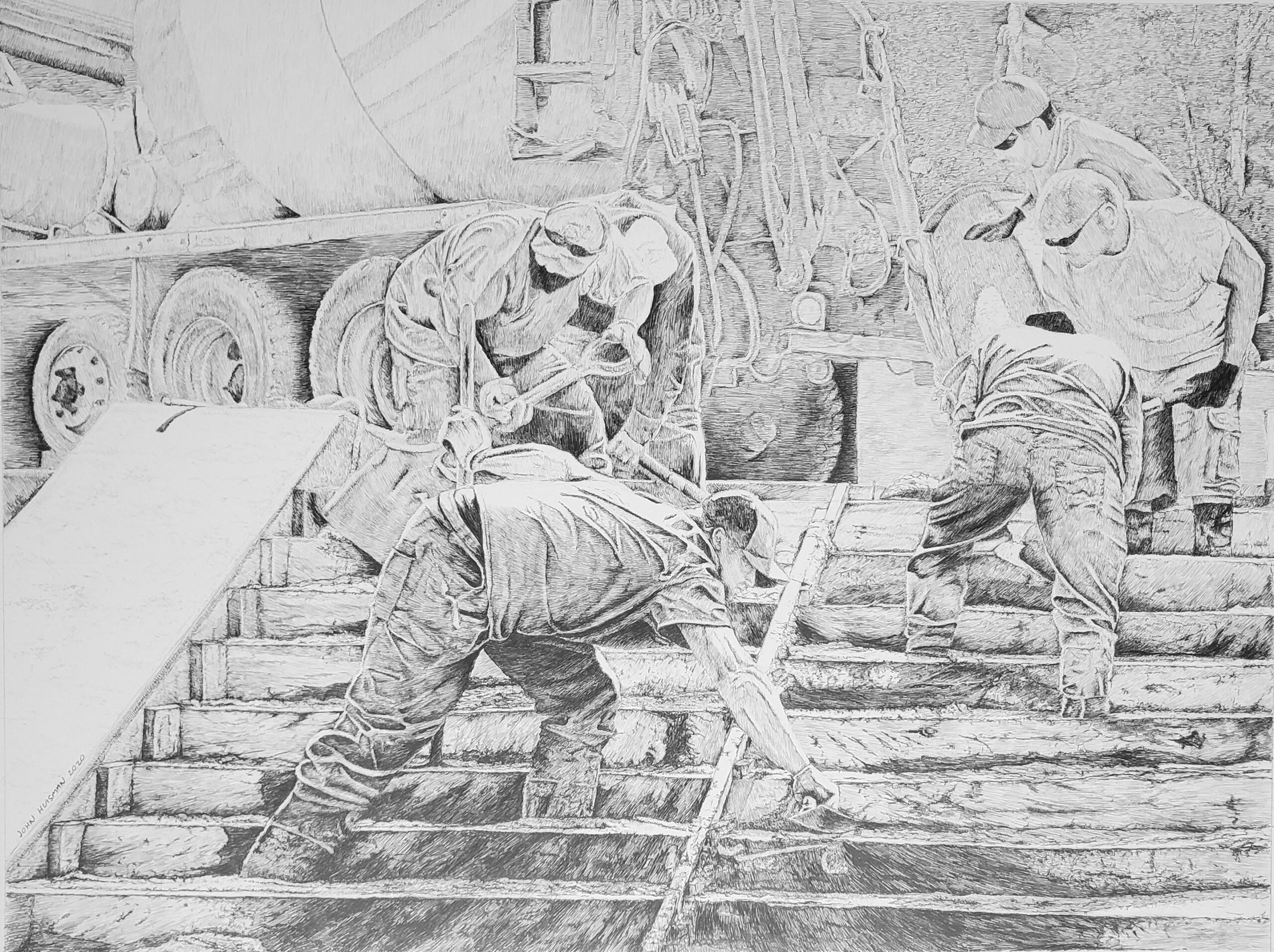 Pouring the steps, 18x24 pencil drawing by John Huisman
