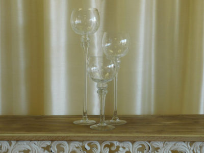 3 Hurricane Candle Holders Various Heights for event rental