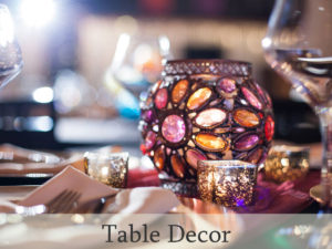 Table decor rental and setup for events and weddings
