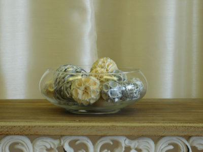 Bowl of Decorative Balls for event rental