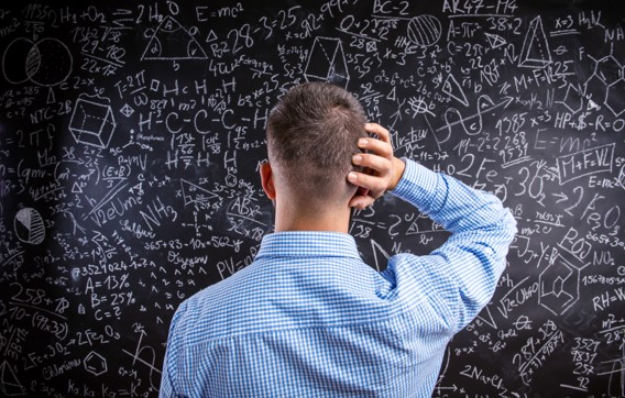 Confused man and blackboard Smaller File