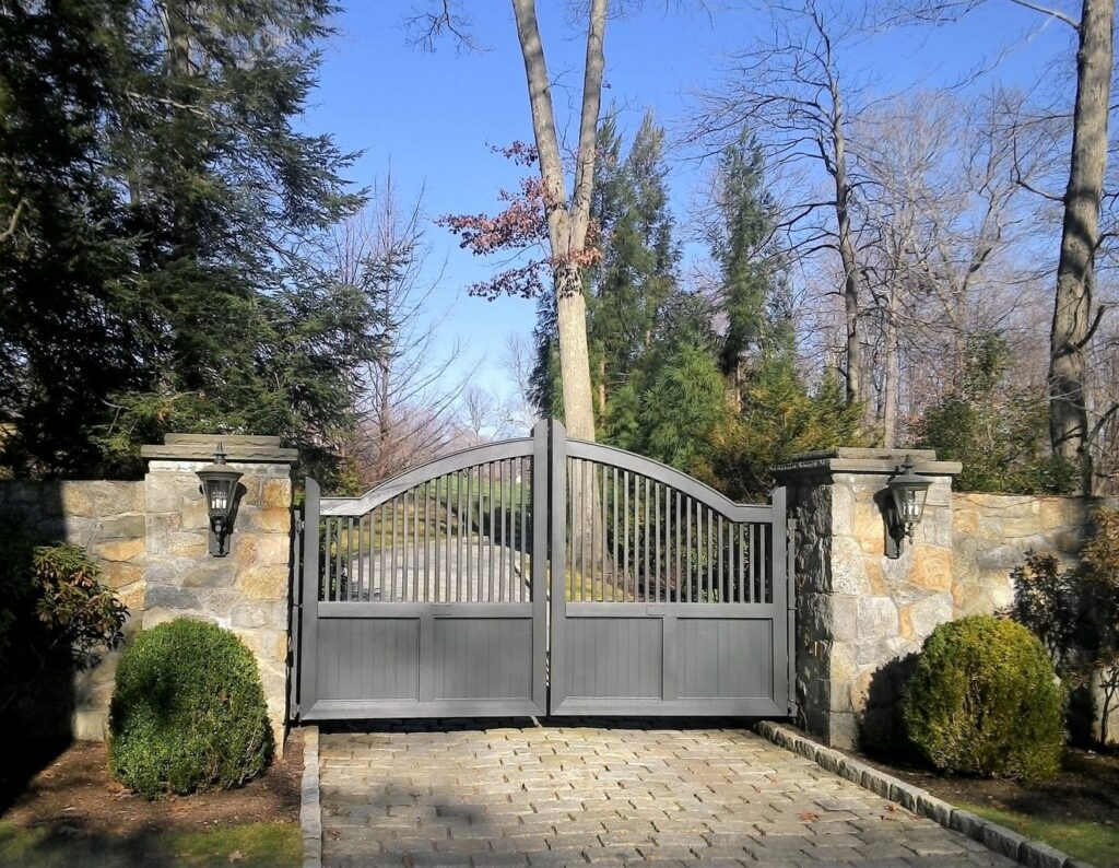Entry Gate Mounted on Stone Wall
