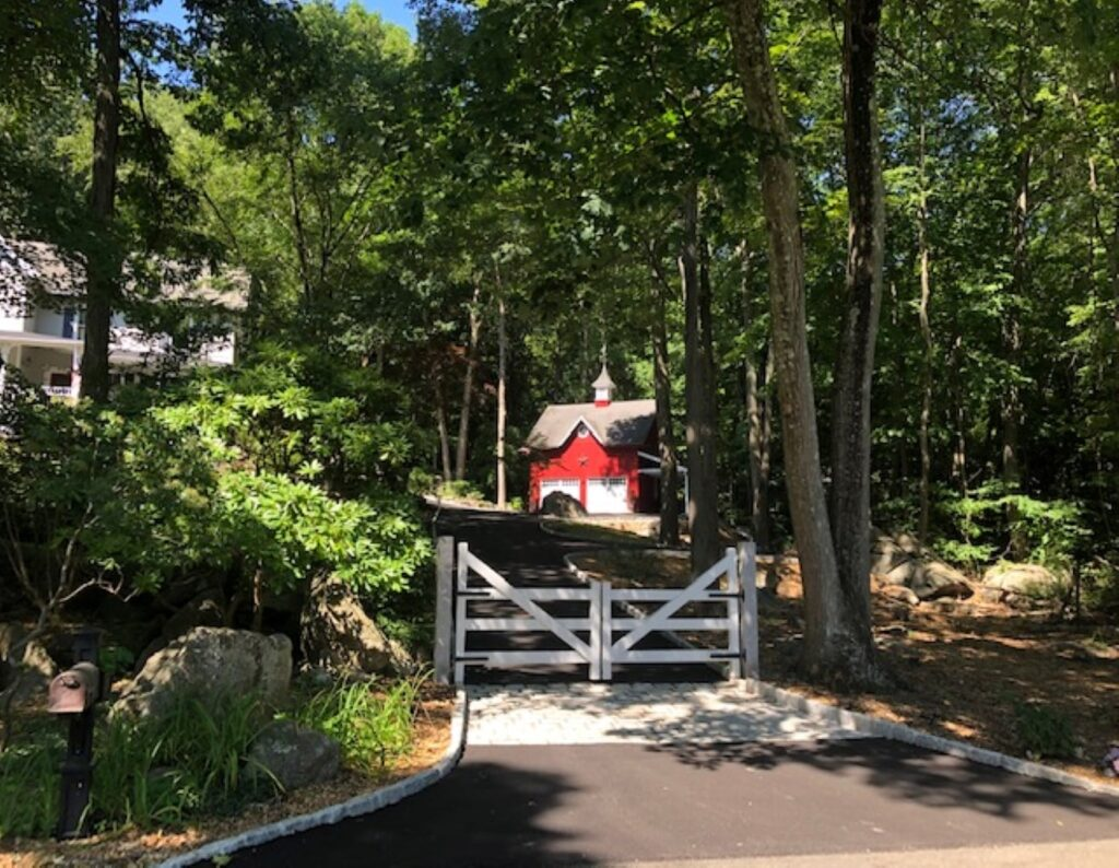 White New Hampshire Entry Gate with Granite Posts