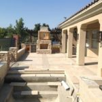 outdoor kitchen and fireplace in bakersfield by Maranatha Landscape in Bakersfield