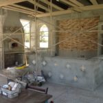 outdoor kitchen and fireplace pizza oven in bakersfield by Maranatha Landscape in Bakersfield