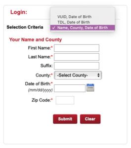 SOS voter registration tool screenshot