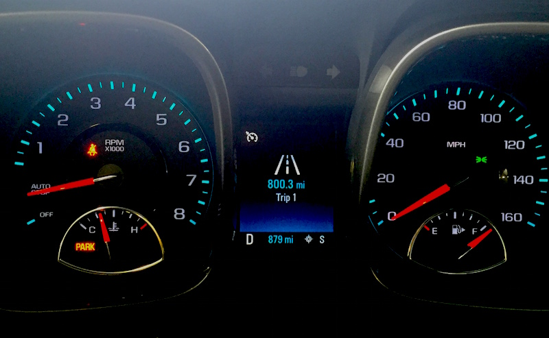 """Note the tachometer showing """"Auto Off"""" mode..."""