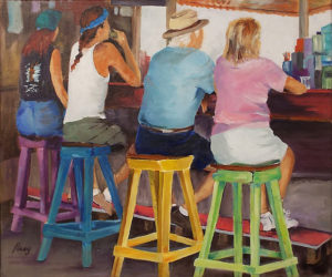 Bottoms Up, Oil on Canvas by Penny Peers, Size 17.5in x 21in x 2in, Price $400 (September 2017)