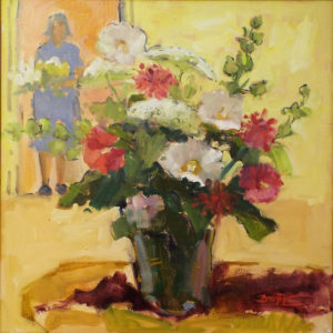 Midsummer Bouquet, Oil on Canvas by Nancy Brittle, Size 20in x 20in, Price $675 (September 2017)
