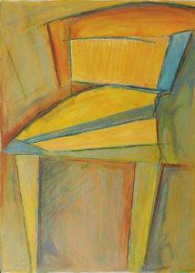 Orange Spinet I, Acrylic, Color Pencil by David Lovegrove, Size 1.75in x 10.5in, Framed 16in x 12in, Price $200 (September 2017)