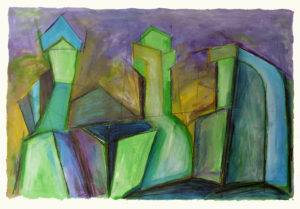 Purina Towers III, Acrylic, Color Pencil by David Lovegrove, Size 15.5in x22.5in, Framed 18in x 24in, Price $350 (September 2017)